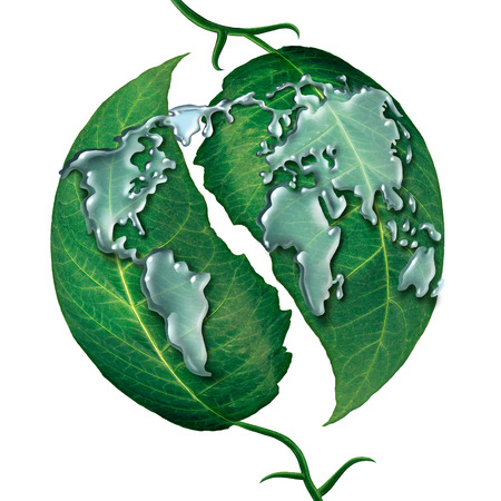 leaf water drop: World leaf water drop concept as a group of liquid rain drops shaped as  the map of the earrth on green leaves as a symbol and metaphor for ecology protection or clean global water isolated on a white background. Stock Photo