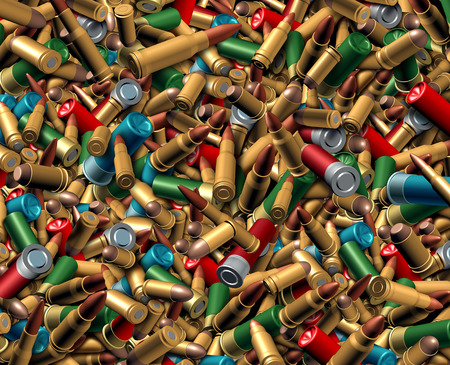 ceasefire: Ammunition bullets background as a dangerous explosives concept with a group of different calibre ammo representing the risk of violence and security social issues involving firearm weapons.