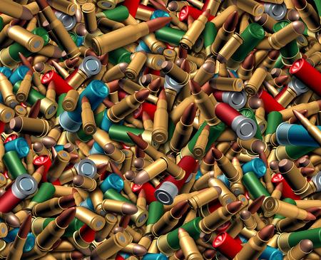 involving: Proiettili Munizioni sfondo come concetto esplosivo pericoloso con un gruppo di diverso munizioni calibro che rappresenta il rischio di violenza e di questioni di sicurezza sociale, con armi da fuoco.