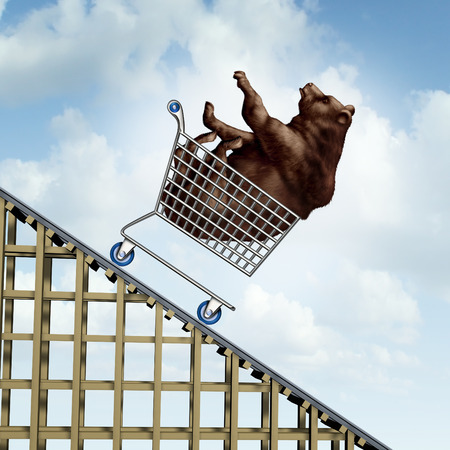 sentiment: Stock market decline financial crisis concept as a bear in a shopping cart going down on a roller coaster structure as an investment metaphor and symbol for negative and conservative sentiment in trading equities strategy.
