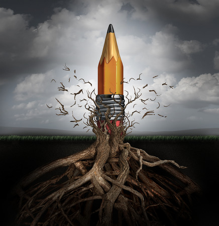 surreal: Creativity concept and creativity symbol as the rise of ideas and innovation as a pencil emerging out from underground roots breaking free from branches as a planning and design success metaphor. Stock Photo