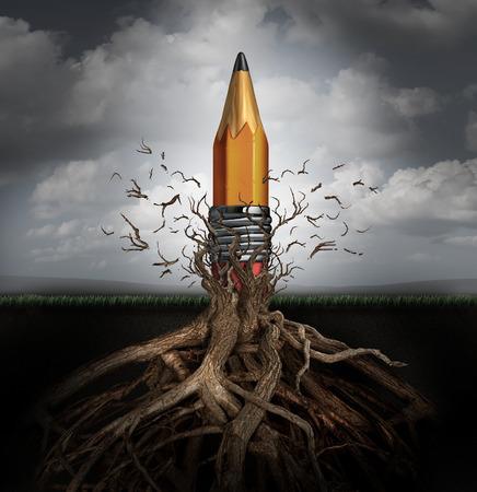 Kreativität Konzept und Kreativität Symbol als dem Aufstieg der Ideen und Innovationen wie ein Bleistift Schwellen aus unterirdischen Wurzeln brechen frei von Zweigen als Planungs- und Design-Erfolg Metapher.