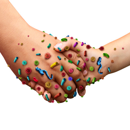 microbes: Infectious diseases spread hygiene concept as people holding hands with germ virus and bacteria spreading with illness in public as a health care risk concept to not wash your hands as dirty infected fingers and palm  with contagious pathogens.