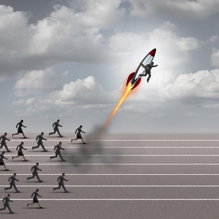 Concepto de motivación y estímulo carrera como un grupo de hombres de negocios que se ejecutan en una pista con un hombre de negocios en un cohete romper con la competición como una metáfora del éxito para un líder cambiador de juego.