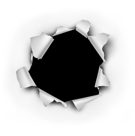 Paper burst hole with ripped torn edges on a white sheet that has been punctured or punched open as a breakthrough blowout freedom and escape symbol. Stockfoto