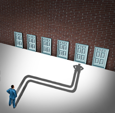 Making a choice opportunity concept as a businessman facing a group of career opportunities with his cast shadow preferring or choosing one door entrance as a symbol and metaphor for odds of career success.