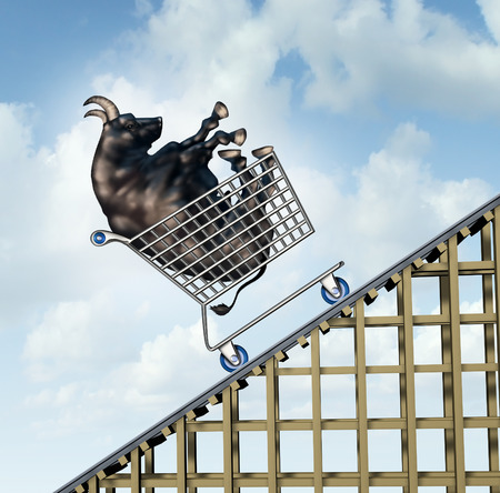 sentiment: Stock market rise financial success concept as a bull in a shopping cart going up on a roller coaster structure as an investment metaphor and symbol for positive and aggressive sentiment.