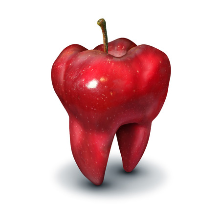health symbols metaphors: Apple tooth health concept as a red fruit shaped as a molar and symbol of human teeth health and oral hygiene or dentistry icon on a white background.