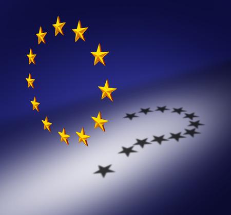 crisis economica: Europa preguntas o concepto de crisis de la zona euro como un grupo de tres estrellas dimensionales, creando una sombra elenco de un signo de interrogación como un símbolo para la adopción del euro incertidumbre sobre la deuda financiera y las cuestiones sociales. Foto de archivo
