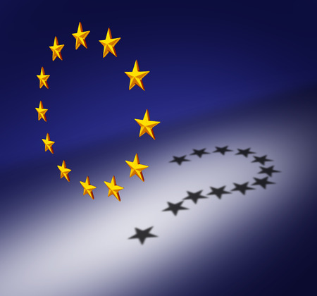 Europe questions or Eurozone crisis concept as a group of three dimensional stars creating a cast shadow of a question mark as a symbol for euro decision uncertainty on financial debt and social issues.
