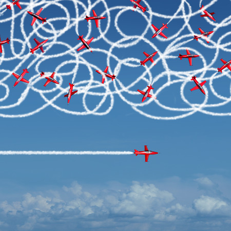 Private concept and pricacy business symbol as a group of confused jet planes creating a tangled mess ogfsmoke trails compared to a single focused airplane flying solo under the radar in a straight direction to success.