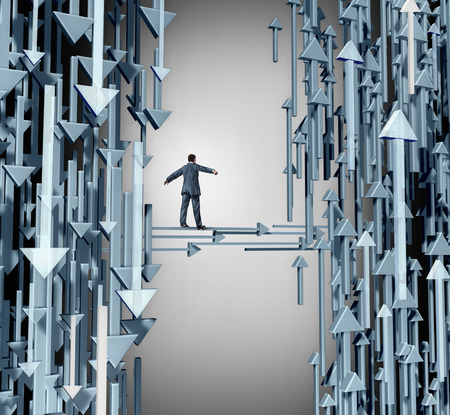 Path to profit business concept as a person walking away from a losing group of downward direction arrows towards  upward symbols of success and profitable opportunity. Archivio Fotografico