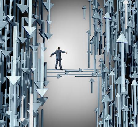 persona cammina: Path to Profit concetto di business come una persona che cammina da un gruppo perdente di frecce di direzione verso il basso in direzione verso l'alto i simboli di successo e di opportunit� redditizie. Archivio Fotografico