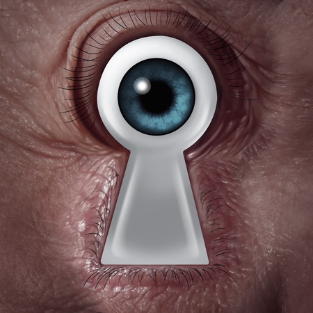 keyhole: Key vision concept as a human eye shaped as a keyhole symbol as a business metaphor for finding the solution from within and being a visionary of innovation and security.
