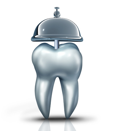 oral health: Dental service symbol and dentist services concept as a human molar tooth with a tooth and a service bell as an icon for dentistry health isurance and professional teeth chekup for oral health and hygiene.
