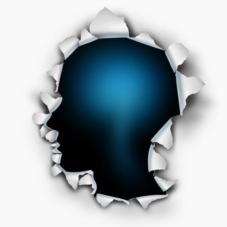 In je menselijk denken begrip als een papieren burst gat met gescheurde gescheurde randen in de vorm van een hoofd op een wit blad, dat is doorboord of geponst geopend als symbool voor het begrijpen van de geest en de hersenfunctie of gevoelens en emoties.