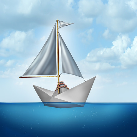 upgrading: Upgrade your skills concept and improve abilities symbol as a boat sail tied to a paper boat as an upgrading and advancement metaphor for strategic innovation to succeed with change.