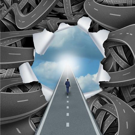 Borrar el concepto de éxito manera de hacer negocios y la vida como una persona que camina a través de una escena bursted de caminos y carreteras confusas enredadas a un cielo azul tranquilo como una metáfora para escapar de la confusión o la libertad y soluciones a los problemas. Foto de archivo - 41669778