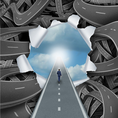 success strategy: Clear way business and life success concept as a person walking through a bursted scene of confused tangled roads and highways to a calm blue sky as a metaphore for escaping the confusion or freedom and solutions to problems. Stock Photo