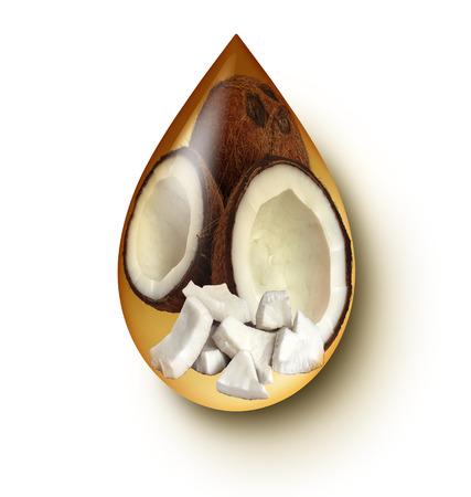 aceite de coco: El aceite de coco concepto gota de líquido sobre un fondo blanco como símbolo de bienestar y el icono de la comida sana y la alimentación saludable de ingredientes naturales que tienen cualidades medicinales medicinales y nutricionales. Foto de archivo