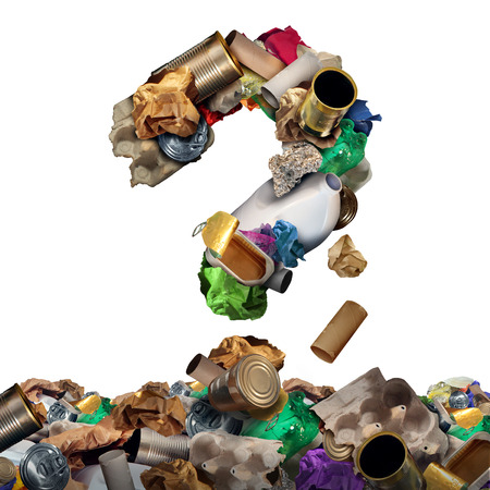 Recycle garbage questions and reusable waste management solutions or confusion concept as old paper glass metal and plastic household products shaped as a question mark as a symbol of environmental conservation of material. Stock Photo