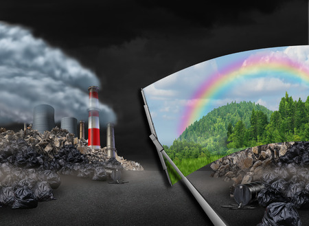 Cleaning the environment and global warming environmental concept as a scene with pollution being wiped with a wiper revealing a clean green natural landscape as a symbol for conservation and earth day.
