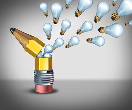 comunicarse: Abrir idea concepto creatividad como un símbolo de la imaginación para salir de la caja pensando como una apertura lápiz para liberar iconos bombilla como la comunicación de marketing creativo. Foto de archivo