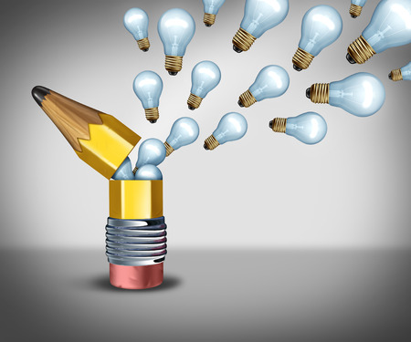 disseminate: Open creativity idea concept as an imagination symbol for out of the box thinking as a pencil opening to release light bulb icons as  creative marketing communication.