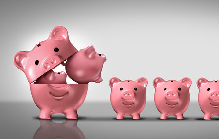 financial diversification: Business diversification concept as a financial growth strategy for new markets for investment growth as an open piggy bank with a group of smaller piggybanks as a metaphor for growing wealth or budget costs and inflation symbol. Stock Photo