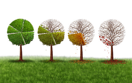 gradually: Declining market share concept as a group of trees shaped as a pie chart gradually losing leaves as a financial crisis symbol and investment loss icon on a white background.