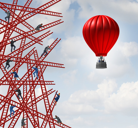 disrupt: New strategy and independent thinker symbol and new innovative thinking leadership concept or individuality as a group of people climbing ladders in confusing directions with one team of employees in a red balloon going up in a clear direction.