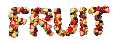 multivitamin: Fruit concept as assorted fruits shaped as letters made of fresh berries blueberry blackberry strawberries melon cantaloupe raspberry pineapple banana and grapes as an icon of healthy lifestyle and living well isolated on a white background.