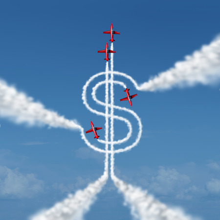 organized group: Money achievement concept as a group of acrobatic jets in an airshowor airplanes flying in the sky creating a smoke trail shaped as a dollar sign as a metaphor and symbol of financialsuccess with organized planning.
