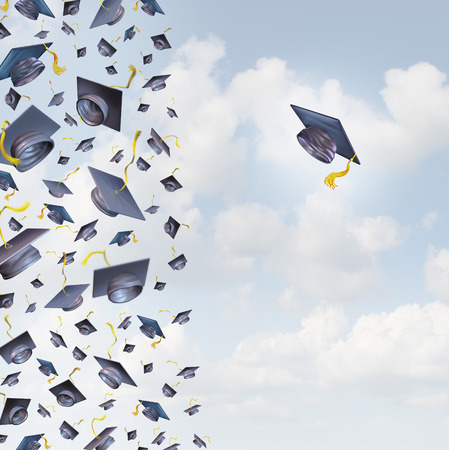 Individual education concept or individualized learning plan symbol as a group of mortar hats or graduation caps flying in the air and a single graduate hat flying alonev in the opposite direction Stock Photo