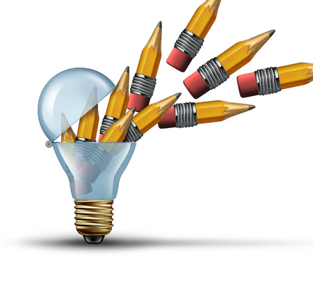 Imagination and creativity concept as an open light bulb or lightbulb symbol for out of the box thinking with a group of pencils being released from within as creative network marketing communication. Stok Fotoğraf