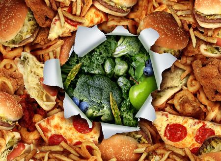 breaking out: Concepto de cambio de vida Dieta y romper y escapar de h�bitos poco saludables de comer comida chatarra grasos hacia los vegetales verdes y frutas como un agujero rasgado y estall� en el documento que revela sana jard�n nutritivos productos frescos. Foto de archivo