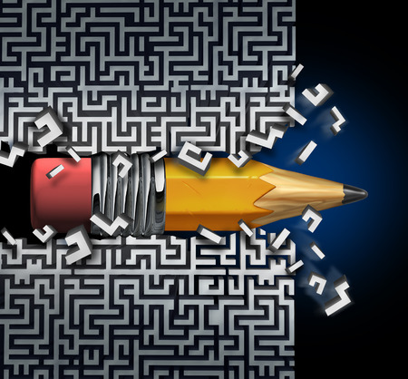 way out: Innovative solution plan as a pencil  trying to find way out of maze breaking through the labyrinth as a business concept and creative metaphor for strategy success and planning achievement.