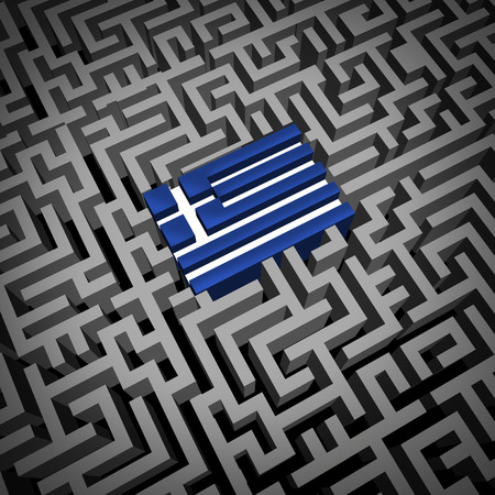 Greece crisis or Greek debt crisis and austerity management concept as the blue and white flag inside a complicated maze or labyrinth as an Athens financial metaphor for European economic social issues.