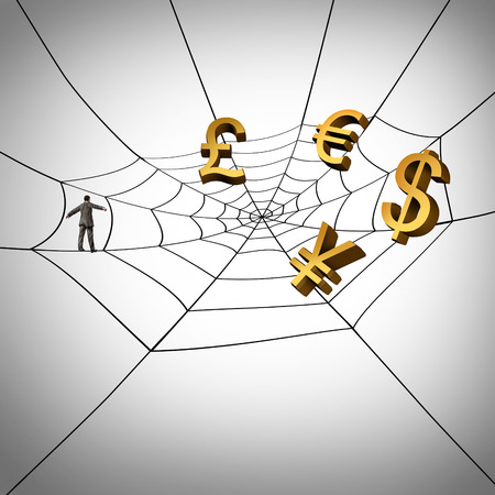 international internet: Web business concept and earning global money from the internet as a businessman walking on a spider web symbol with currency icons trapped in the network as an entrepreneur collecting income from international internet sales.