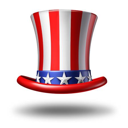 kapelusze: Amerykańska ikona kapelusz jako symbol gwiazd i paski na białym tle jako koncepcji patriotyzmu w Ameryce i obchody dzień niepodległości i czwartego lipca w Stanach Zjednoczonych. Zdjęcie Seryjne