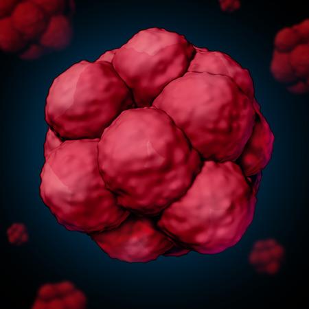 tallo: Célula de vástago o concepto stemcell como una ilustración tridimensional de células biológicas que dividen a través de la mitosis encontrado en los seres humanos y otros mamíferos como una ciencia médica y la atención sanitaria símbolo investigación para la terapia de células madre potencial.