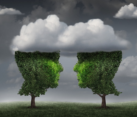 Cloud relationship and growing network communication with a group of two trees shaped as a human head in the clouds floating above their faces as a business concept of team growth sending a message with cloud technology. Stock Photo