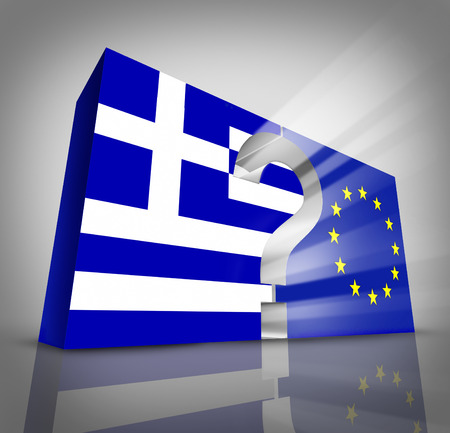 financial questions: European Greece questions or Greek debt crisis and austerity management concept as a three dimensional blue and white flag and European Union symbol with a question mark in between as an Athens financial economy metaphor.