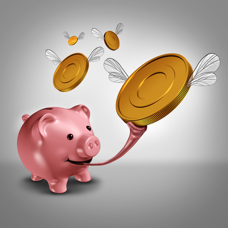 money metaphor: Savings strategy and increasing earnings financial concept as a piggy bank with a long frog tongue catching winged gold currency coins in the air as a money metaphor for budget success.