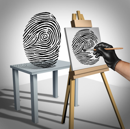 personal data: Identity theft concept as a criminal painting a copy of a fingerprint  as a security symbol for ID protection and protecting private data on the internet or personal servers.