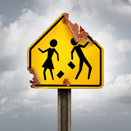 public schools: Education decline and neglected school problems concept as a rusted student crossing traffic sign as a symbol of negligence in public schools and teaching or funding challenges for special learning and literacy programs.