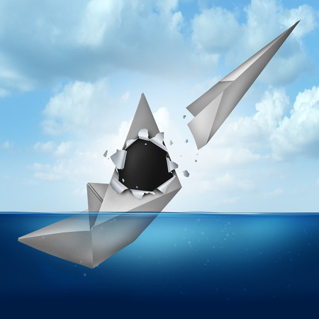escaping: PlanB business contingency planning concept as a sinking ship or paper boat with an origami airplane emerging out as a metaphor for escaping from failure and a chance for future success.