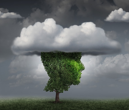 fantasize: Head in the cloud concept as a tree shaped as the face of a person with clouds covering the top as an imagination metaphor for contemplation and meditation or negative and negativity character trait.