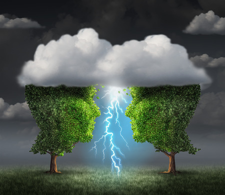 symbiotic: Business spark idea concept as two trees shaped as a head under a storm cloud creating a thunderbolt of lightning as a symbiotic success metaphor and creative collaboration unity. Stock Photo