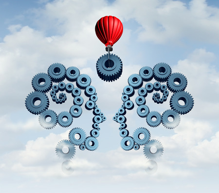business gears: Constructing a business partnership concept with gears connected together shaped as a human head team with a red balloon placing a key cog in the center to connect the partners.